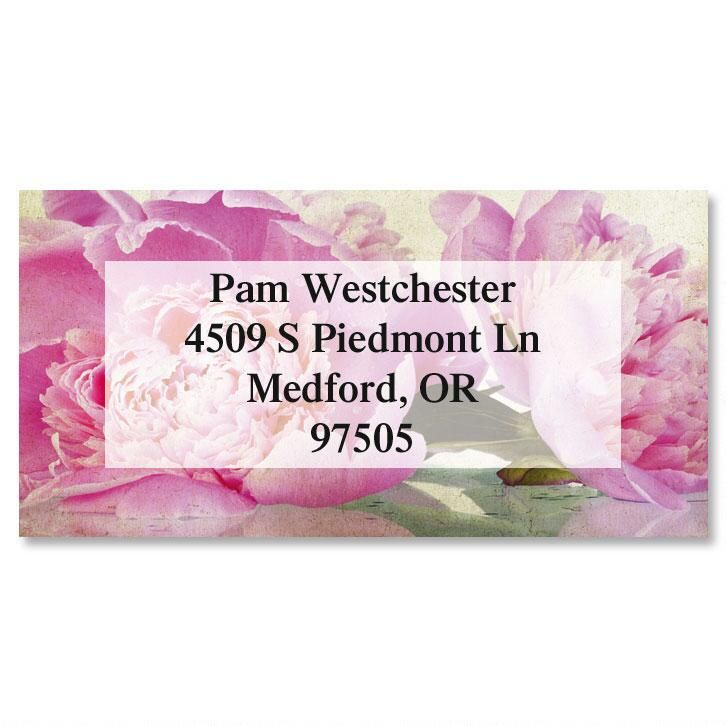 Casual Peony Border Return Address Labels
