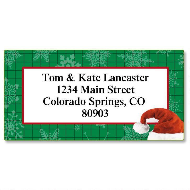 Santa Hat Border Return Address Labels
