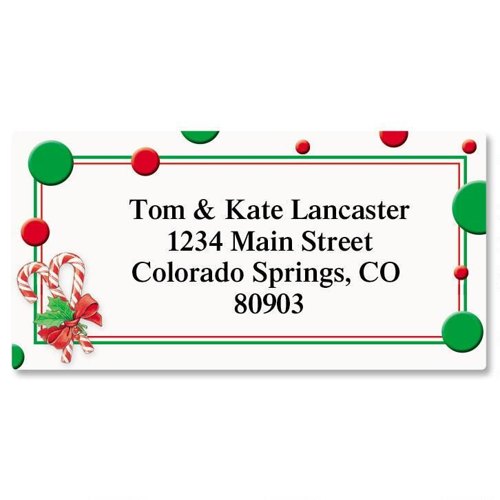 Peppermint Candies Border Return Address Labels