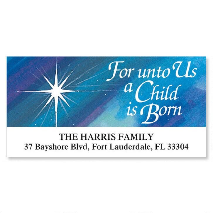 A Child is Born Deluxe Christmas Address Labels