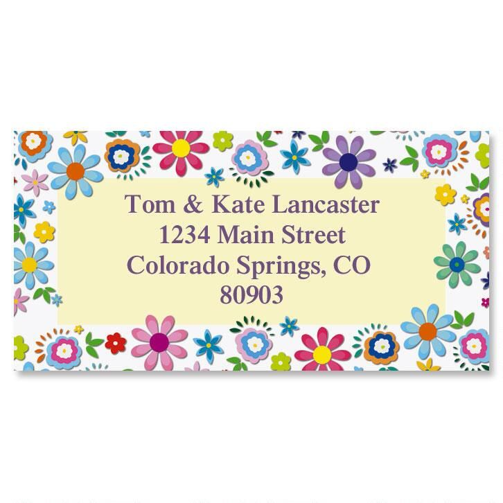 Cheerful Florals Border Return Address Labels