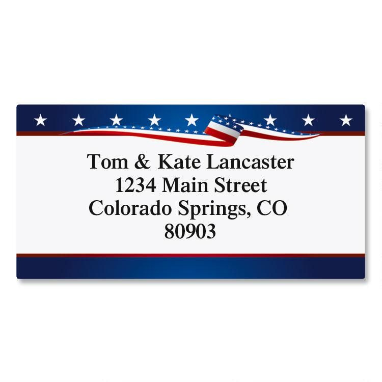 USA Proud Border Return Address Labels