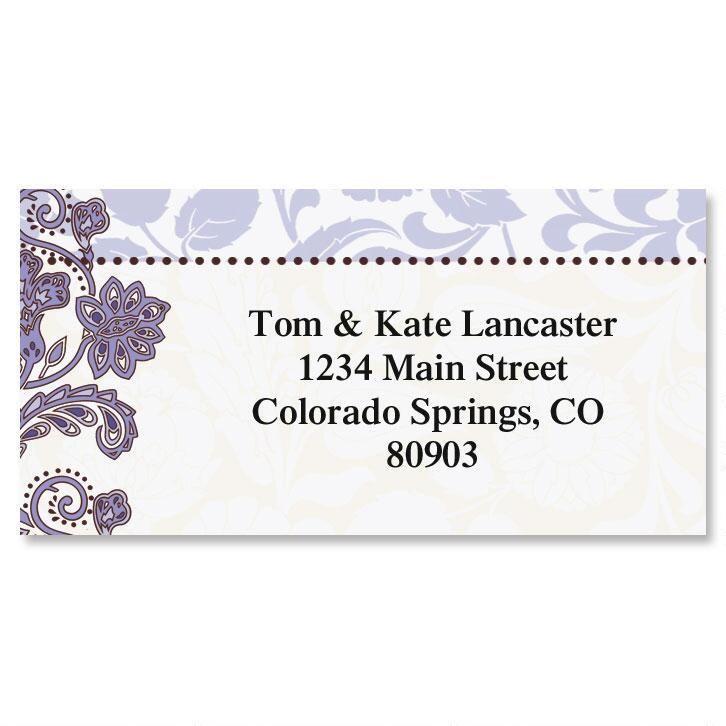 Lavender Brocade Border Return Address Labels