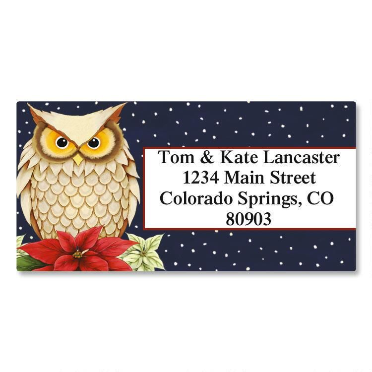 Winter Owl Border Return Address Labels