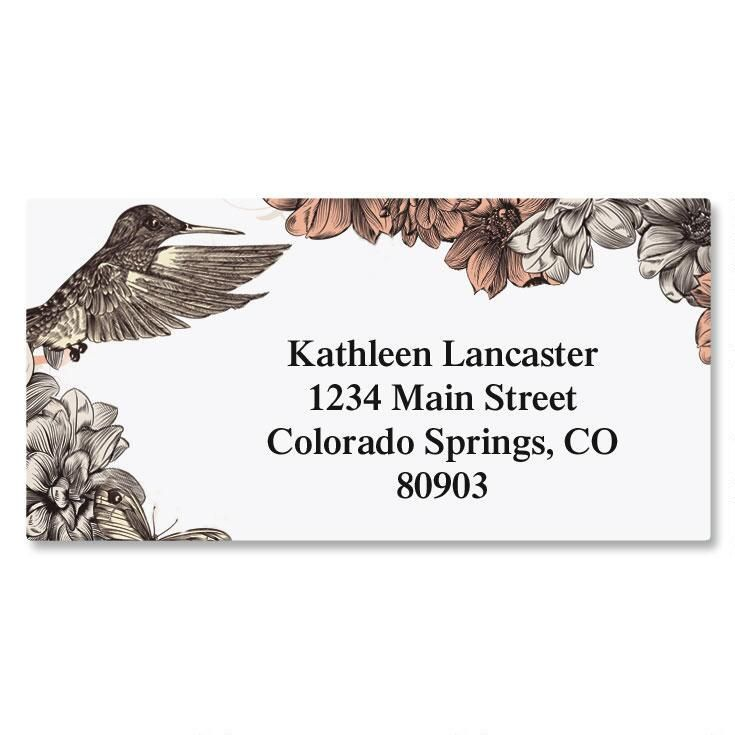 Hummingbird Garden Border Return Address Labels