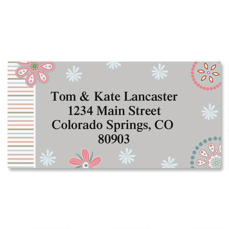 Patterns and Petals Border Return Address Labels