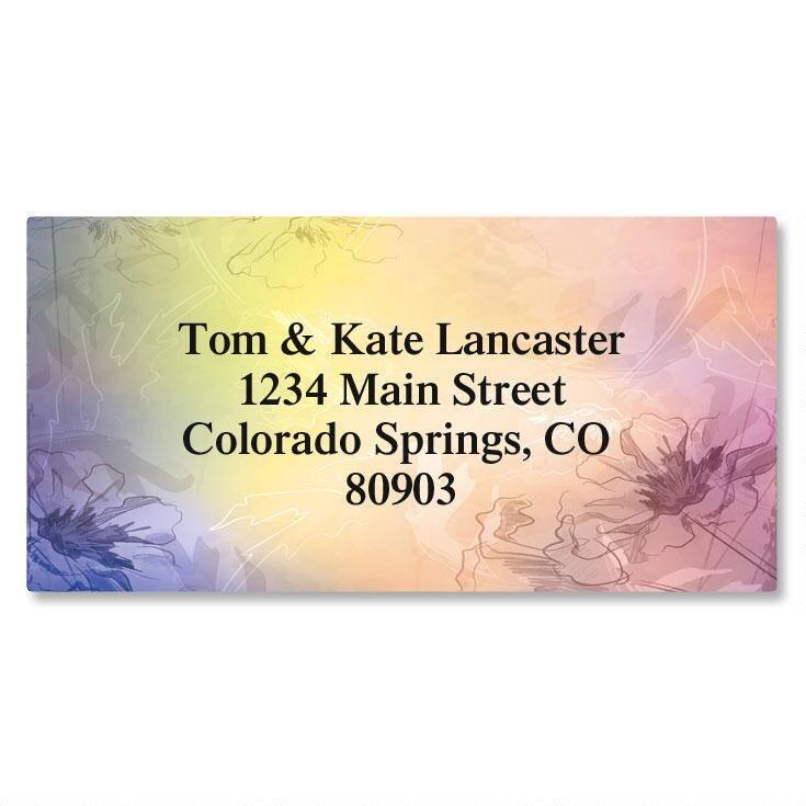 Tinted Florals Border Address Labels