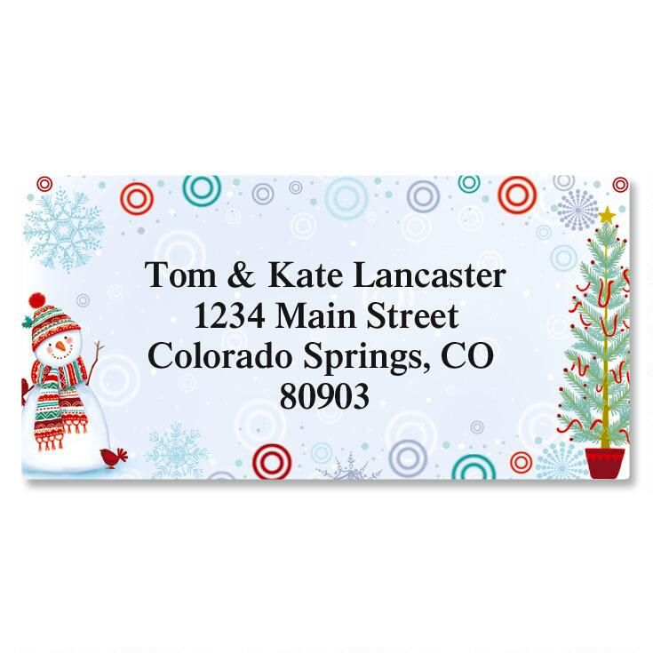 Snowman Delight Border Return Address Labels