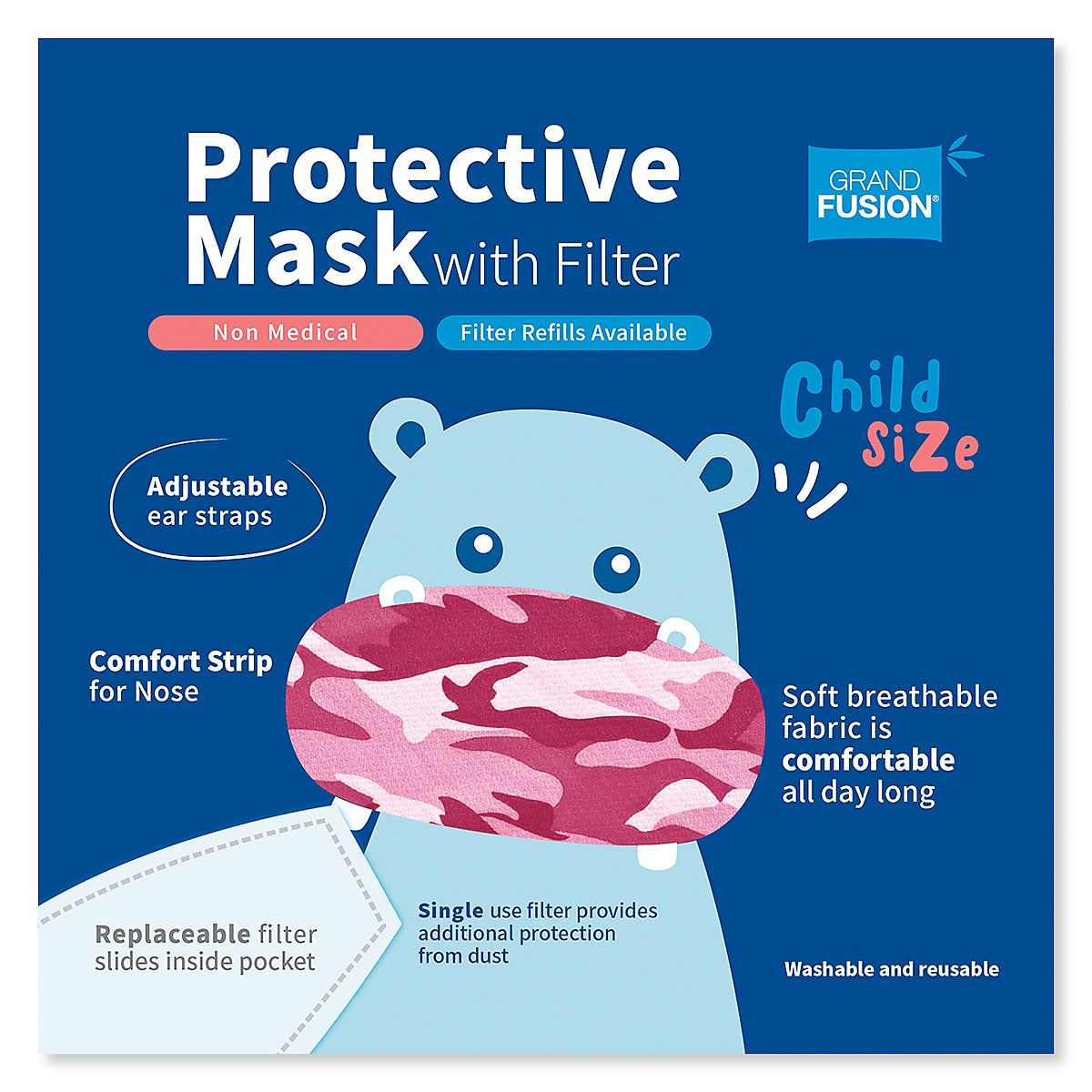Pink Kids Camouflage Reusable Face Mask & Replacement Filters