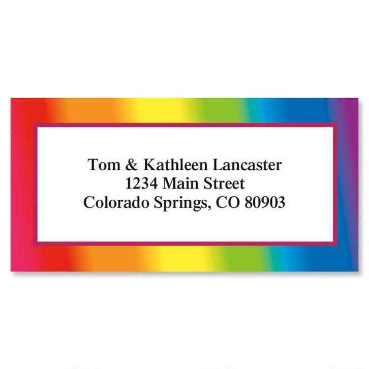 Rainbow  Border Return Address Labels
