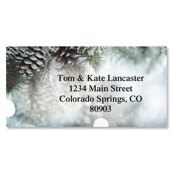 Snowy Pine Border Address Labels