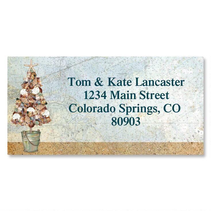 Coastal Tree Border Address Labels