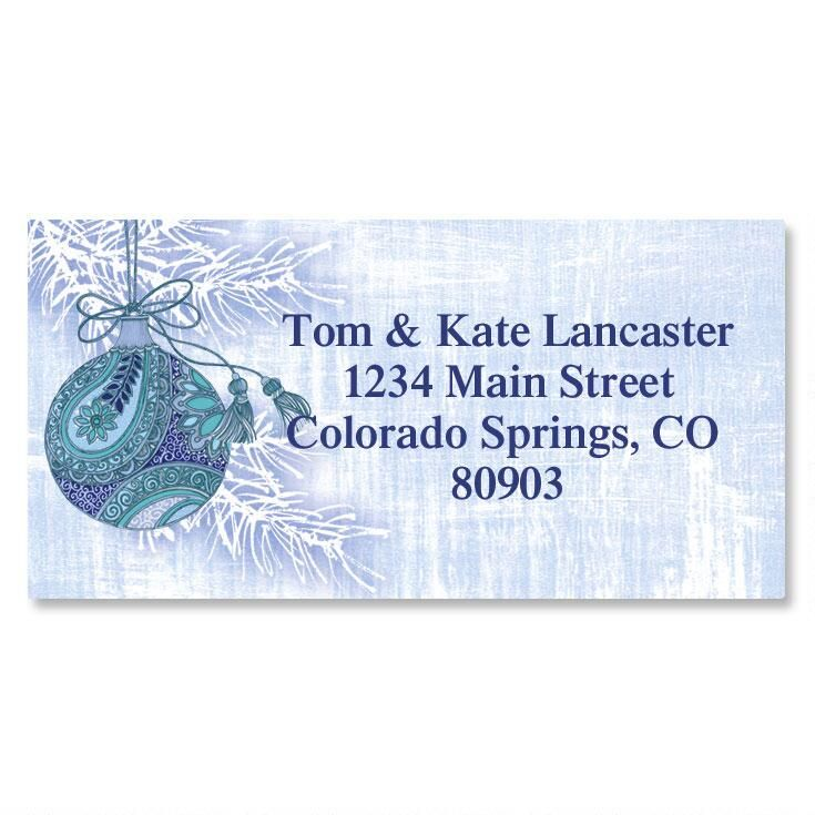 Blue Paisley Border Return Address Labels