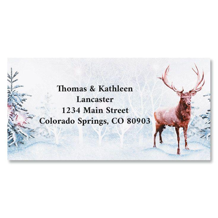 Frosted Forest Holiday Border Return Address Labels