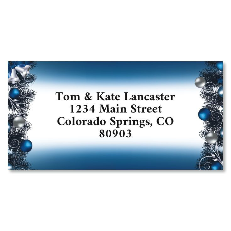 Blue Christmas Border Christmas Address Labels