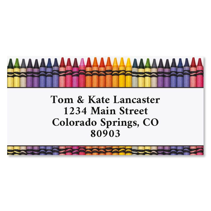 Crayons Border Return Address Labels