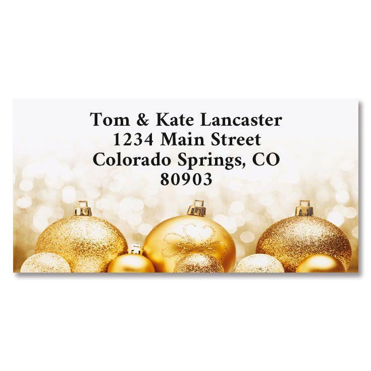 Golden Wishes Border Return Address Labels