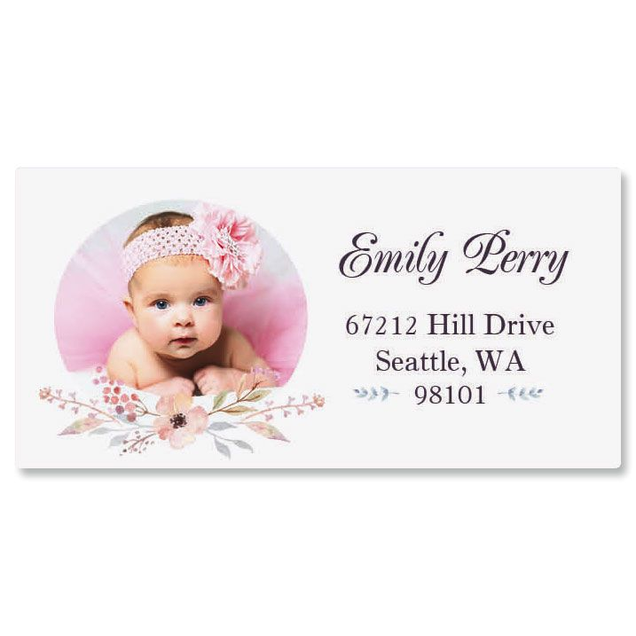 Personalized Floral Cameo Photo Border Address Label