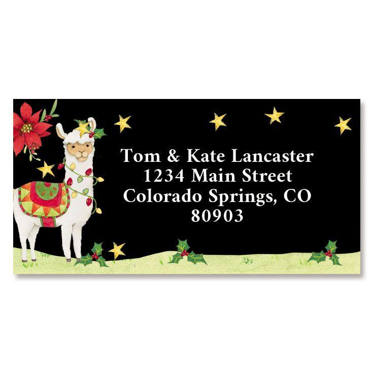 Christmas Llama Border Return Address Labels