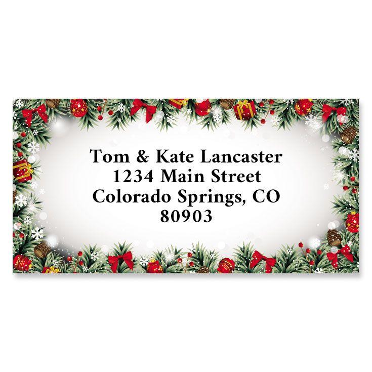 Christmas Frame Border Return Address Labels