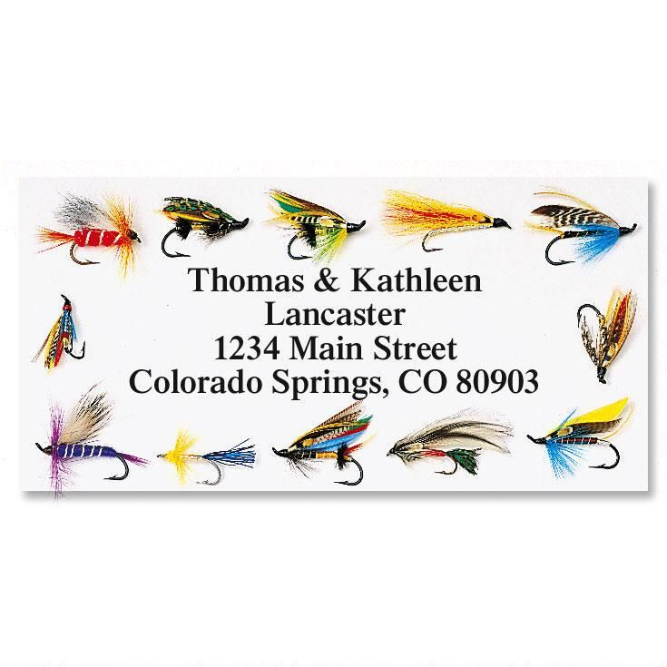 Fishing Flies Border Address Labels