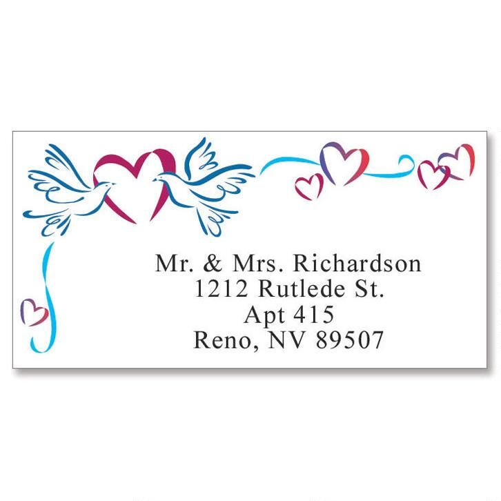 Sweetheart Doves Border Return Address Labels