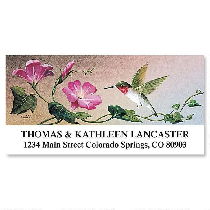 Ruby-Throated Hummingbird Deluxe Return Address Labels