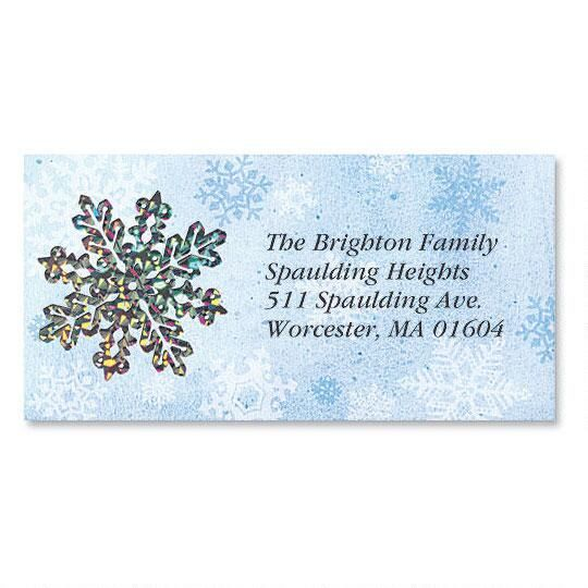 Glistening Snowflake  Foil Border Address Labels