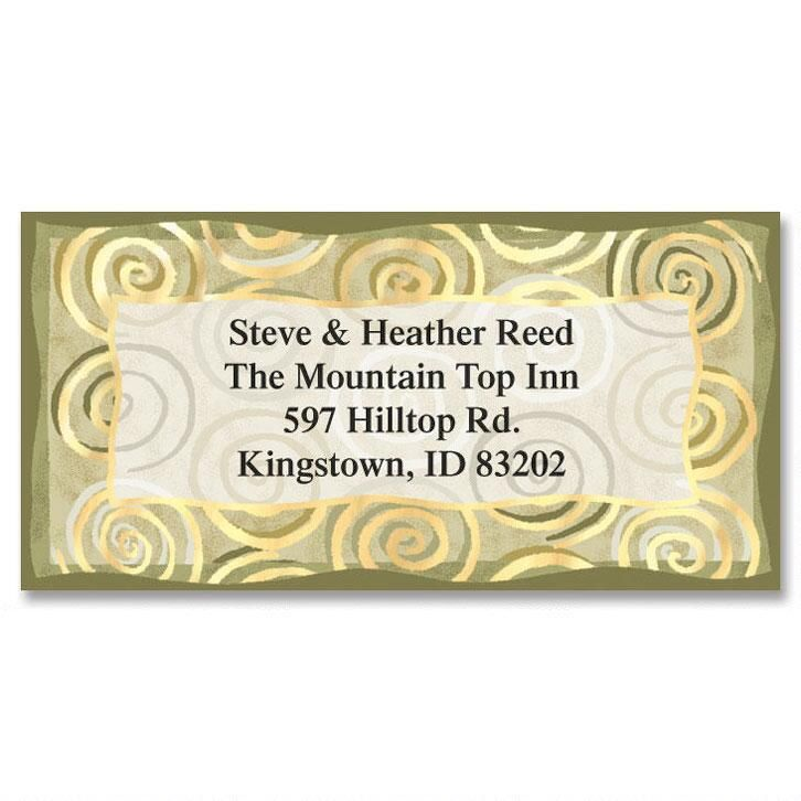 Golden Spiral  Foil Border Return Address Labels