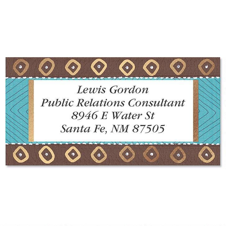 Brown & Turquoise Border Address Labels