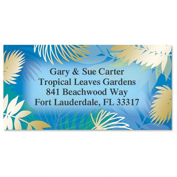 Tropical Leaves Foil Border Return Address Labels