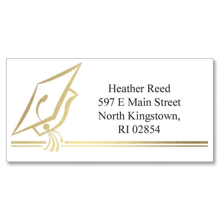 Hats Off Graduation Foil Border Return Address Labels