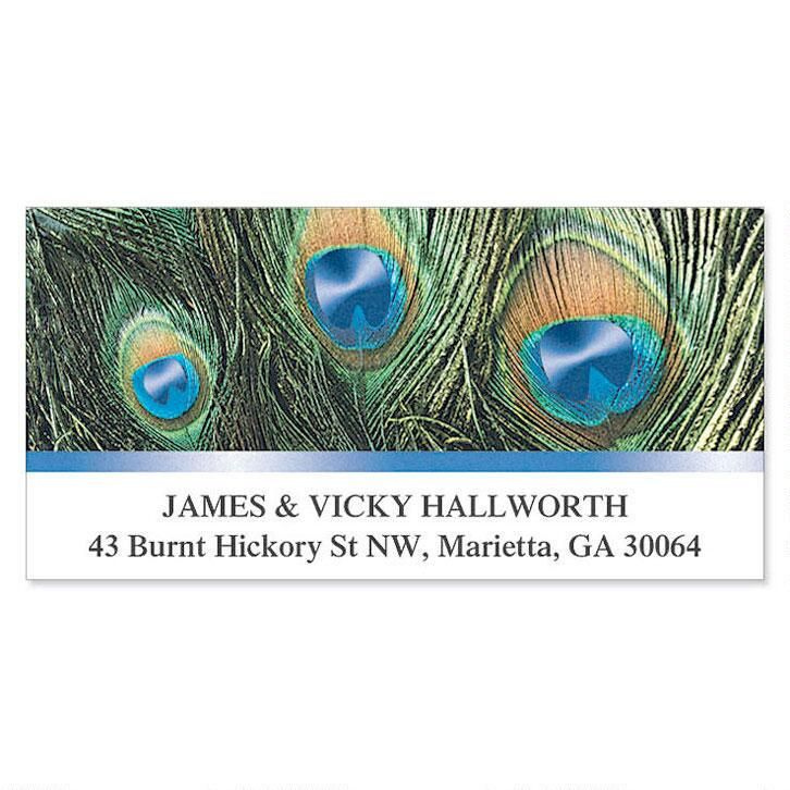 Peacock Feathers Foil Deluxe Return Address Labels