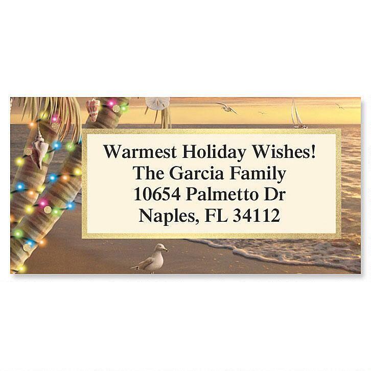 Gifts of the Tide Christmas Foil Border Return Address Labels