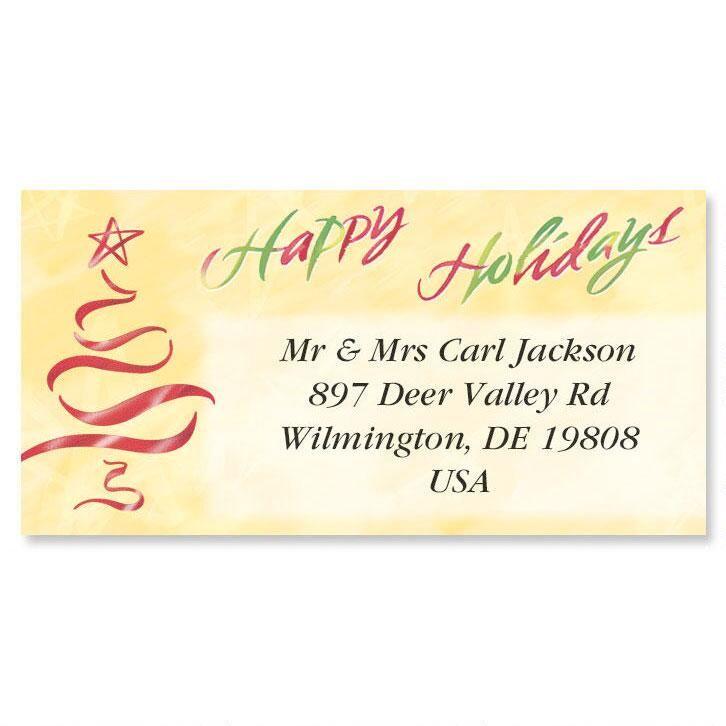 Holiday Tree   Foil Border Address Labels