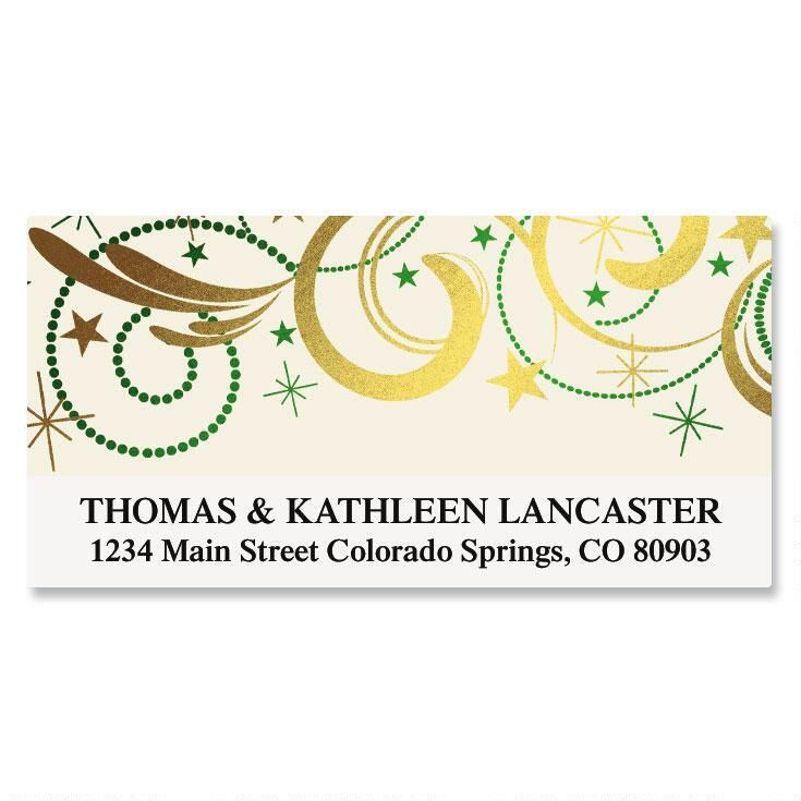Christmas Curlicues Foil Deluxe Address Labels