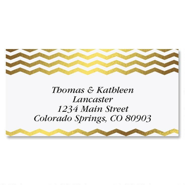 Gilded Chevron Gold Foil Border Return Address Labels