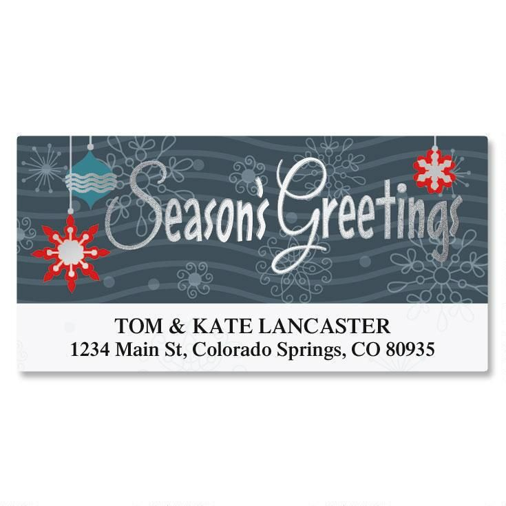 Season's Greetings Foil Deluxe Address Labels