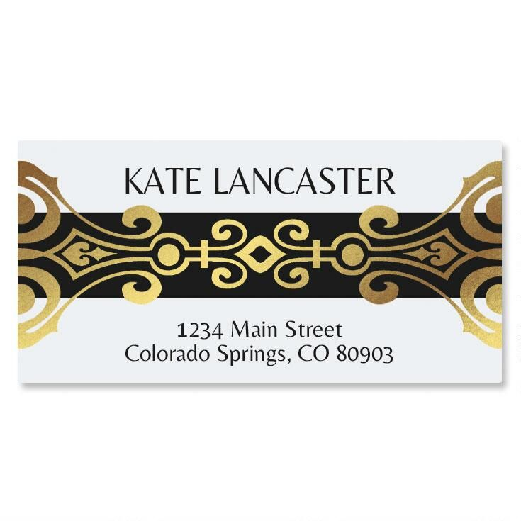 Matured Antique Foil Border Return Address Labels