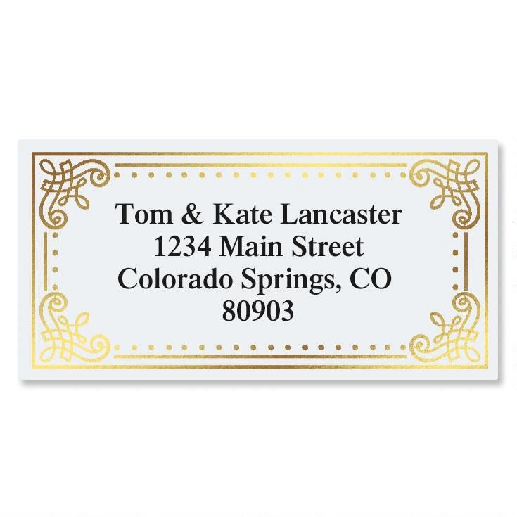 Delicate Antique Foil Border Return Address Labels