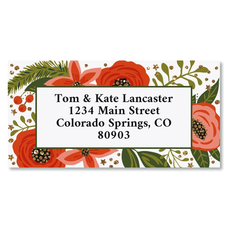 Peace on Earth Border Foil Christmas Address Labels