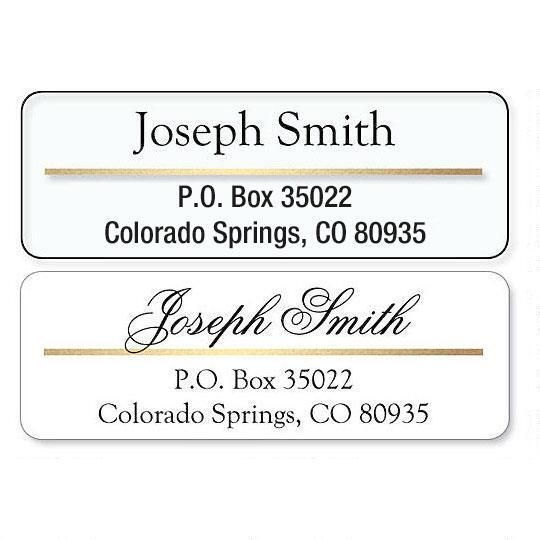 Return Address Label with Gold Foil Accent Line