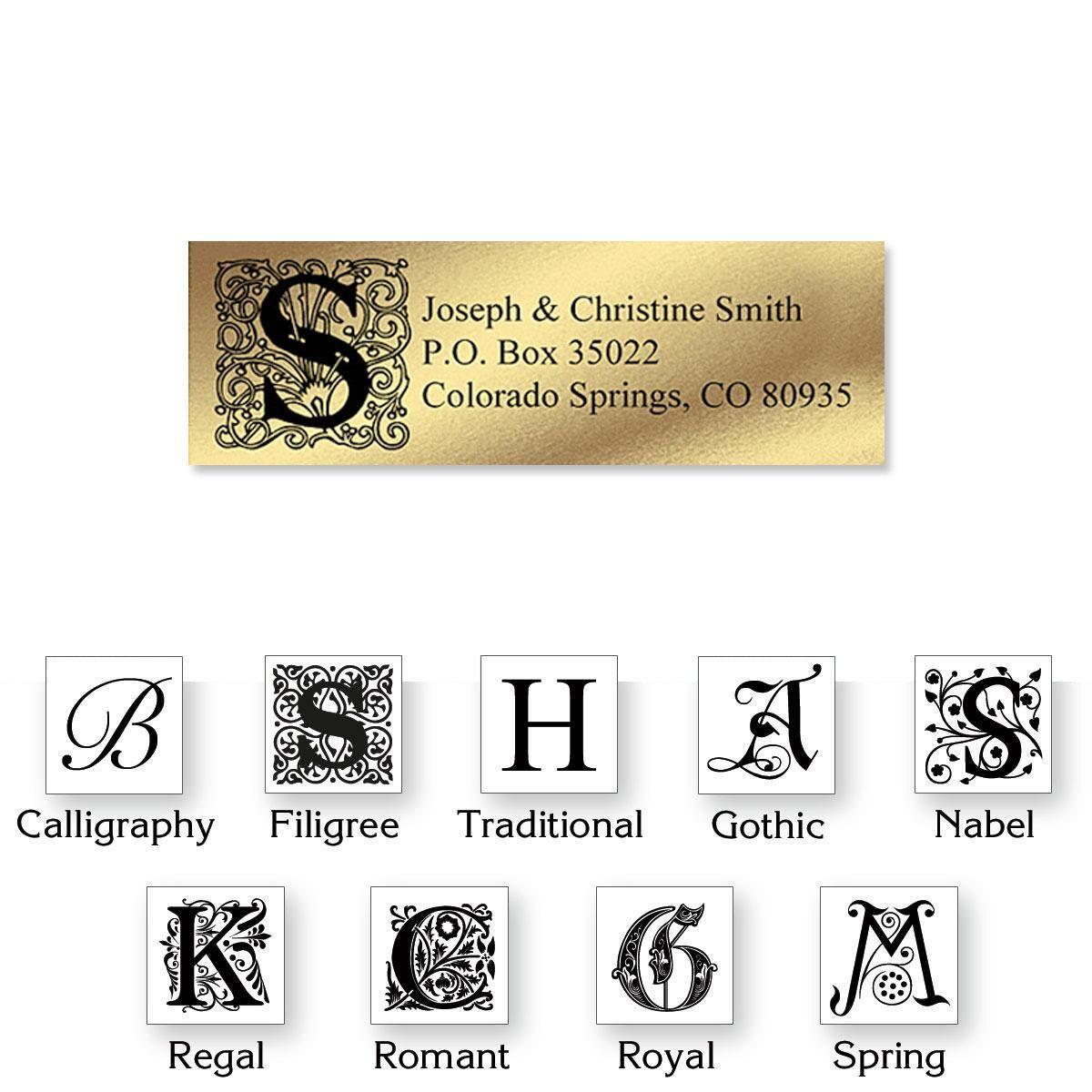 Gold Foil Initial Classic Address Labels