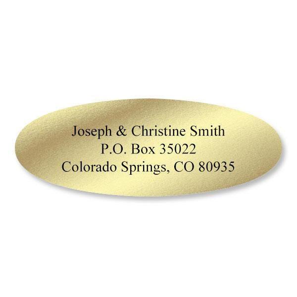 Foil  Oval Address Labels-Gold