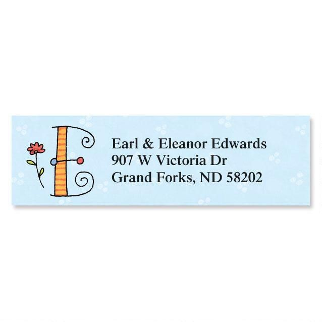 Sue Dreamer Initial Classic Return Address Labels