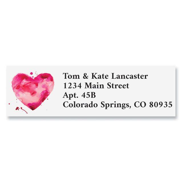 Watercolor Heart Classic Return Address Labels