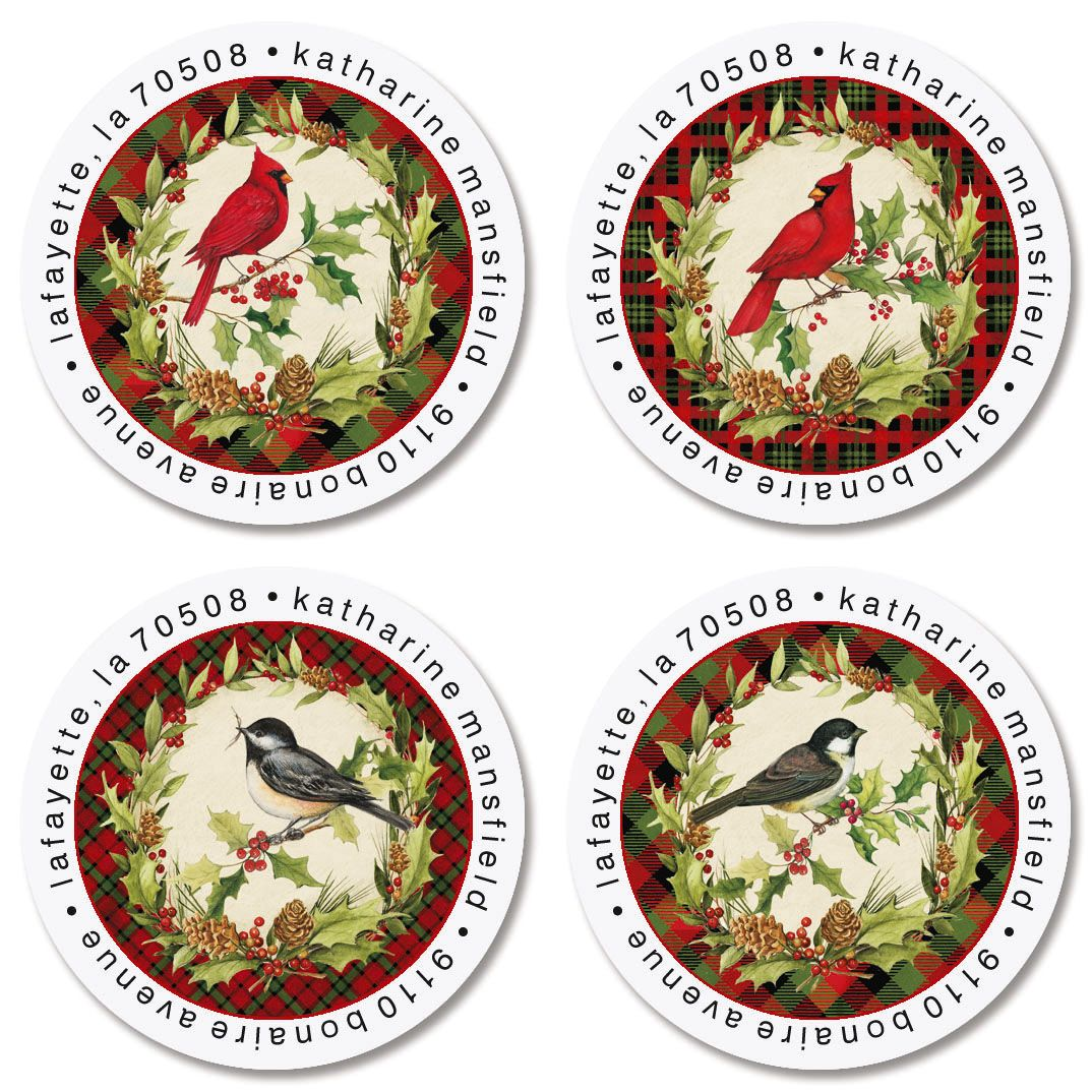 Christmas Birds Round Return Address Labels (4 Designs)