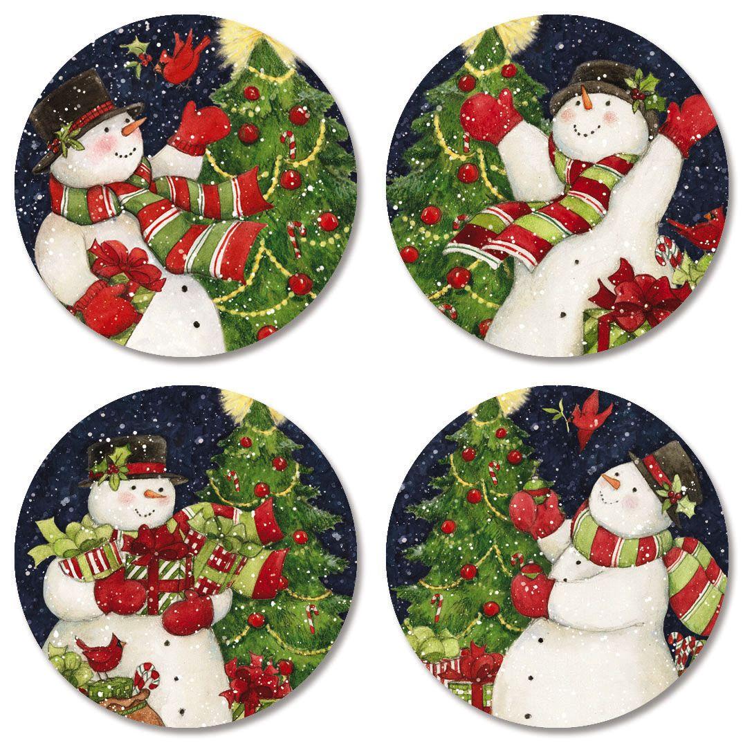 Snowman Tree Envelope Seals (4 Designs)