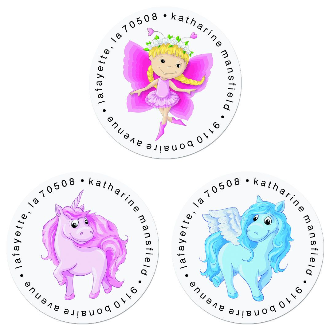 Fairytales Round Return Address Labels (3 Designs)
