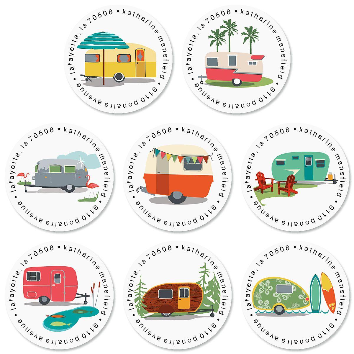 Happy Camper Round Return Address Labels (8 Designs)